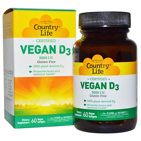 Country Life, Vegan D3, 5000 IU, 60 Vegan Softgels