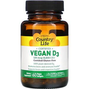 Кантри Лайф, Certified Vegan D3, 125 mcg (5,000 IU), 60 Vegan Softgels отзывы