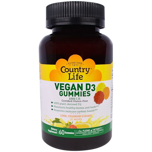 Country Life, Vegan D3 Gummies, Lemon, Strawberry & Orange Flavors, 1000 IU, 60 Gummies
