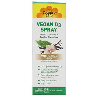Country Life, ビーガンD3スプレー ,Spray, Vanilla Bean Flavor, 2,000 I.U. (50 mcg), 150 Ingestible Sprays, 0.81 fl oz (24 ml)