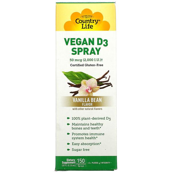 Vitamin D3 Spray, Vanilla Bean, 50 mcg (2,000 IU), 150 Ingestible Sprays, 0.81 fl oz (24 ml)