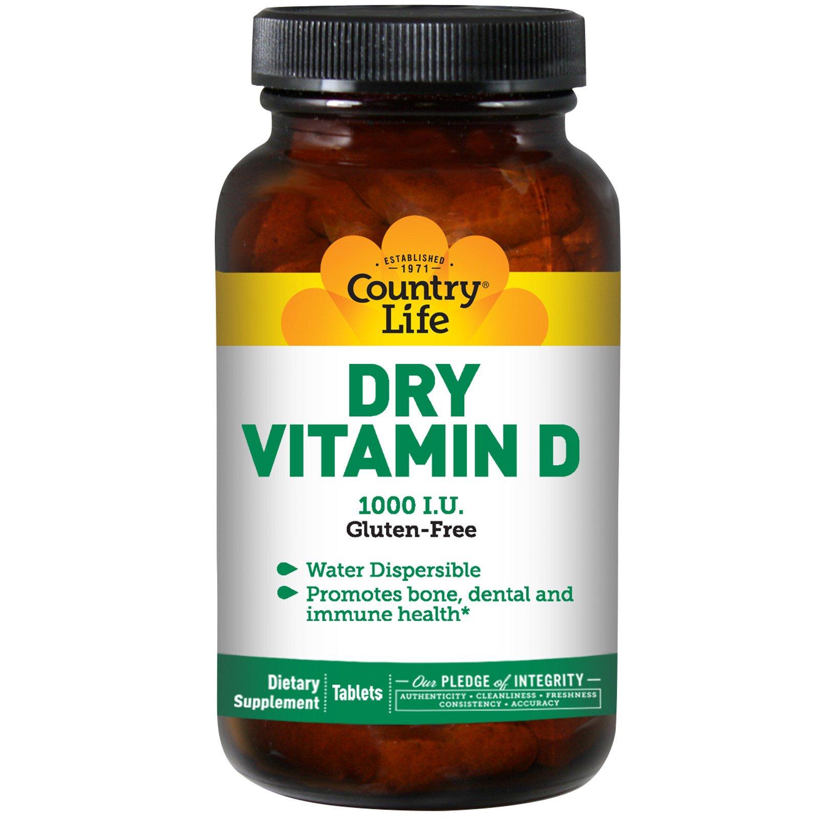 Country Life, Сухой витамин D, 1000 международных единиц, 100 таблеток