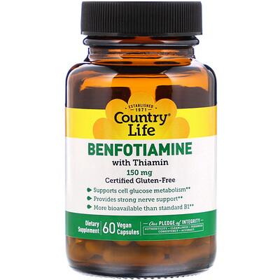 Купить Country Life Бенфотиамин, с коферментом B1, 150 мг, 60 растительных капсул