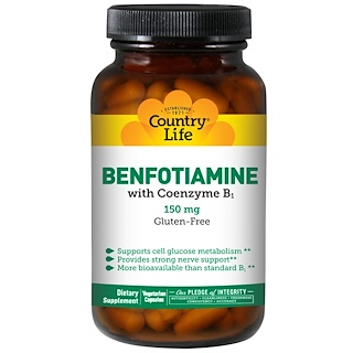 Country Life, Benfotiamine, with Coenzyme B1, 150 mg, 60 Veggie Caps
