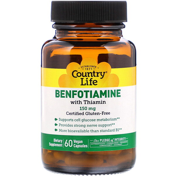 Country Life, Benfotiamine with Thiamin, 150 mg, 60 Vegan Capsules