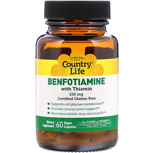 Кантри Лайф, Benfotiamine with Thiamin, 150 mg, 60 Vegan Capsules отзывы покупателей