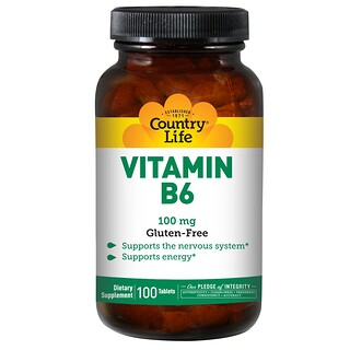 Country Life, Vitamin B6, 100 mg, 100 Tablets