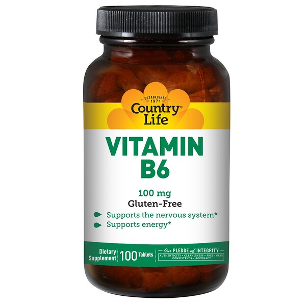 Vitamin B6, 100 mg, 100 Tablets