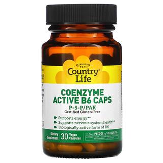 Country Life, Country Life, Sin Gluten, Coenzima Activo B6 Cápsulas, P-5-P/PAK, 30 Cápsulas Vegetarianas