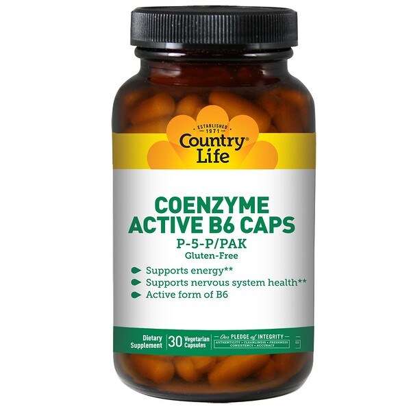 Country Life, Coenzyme Active B6 Caps, P-5-P/PAK, 30 Veggie Caps