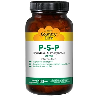 Country Life, P-5-P (Piridoxal 5' fosfato), 50 mg, 100 Tabletas