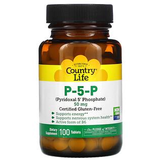 Country Life, P-5-P (Piridoxal 5' fosfato), 50 mg, 100 Tabletas