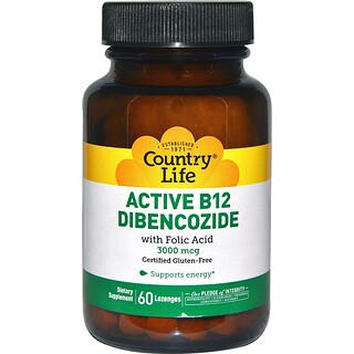 Country Life, Active B12 Dibencozide, 3000 mcg, 60 Lozenges