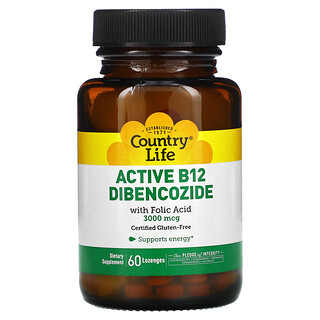Country Life, Active B12 Dibencozide with Folic Acid, 3,000 mcg, 60 Lozenges