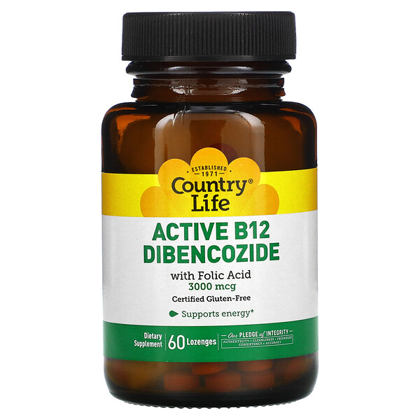Active B12 Dibencozide with Folic Acid, 3,000 mcg, 60 Lozenges