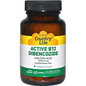 Кантри Лайф, Active B12 Dibencozide, 3000 mcg, 60 Lozenges отзывы
