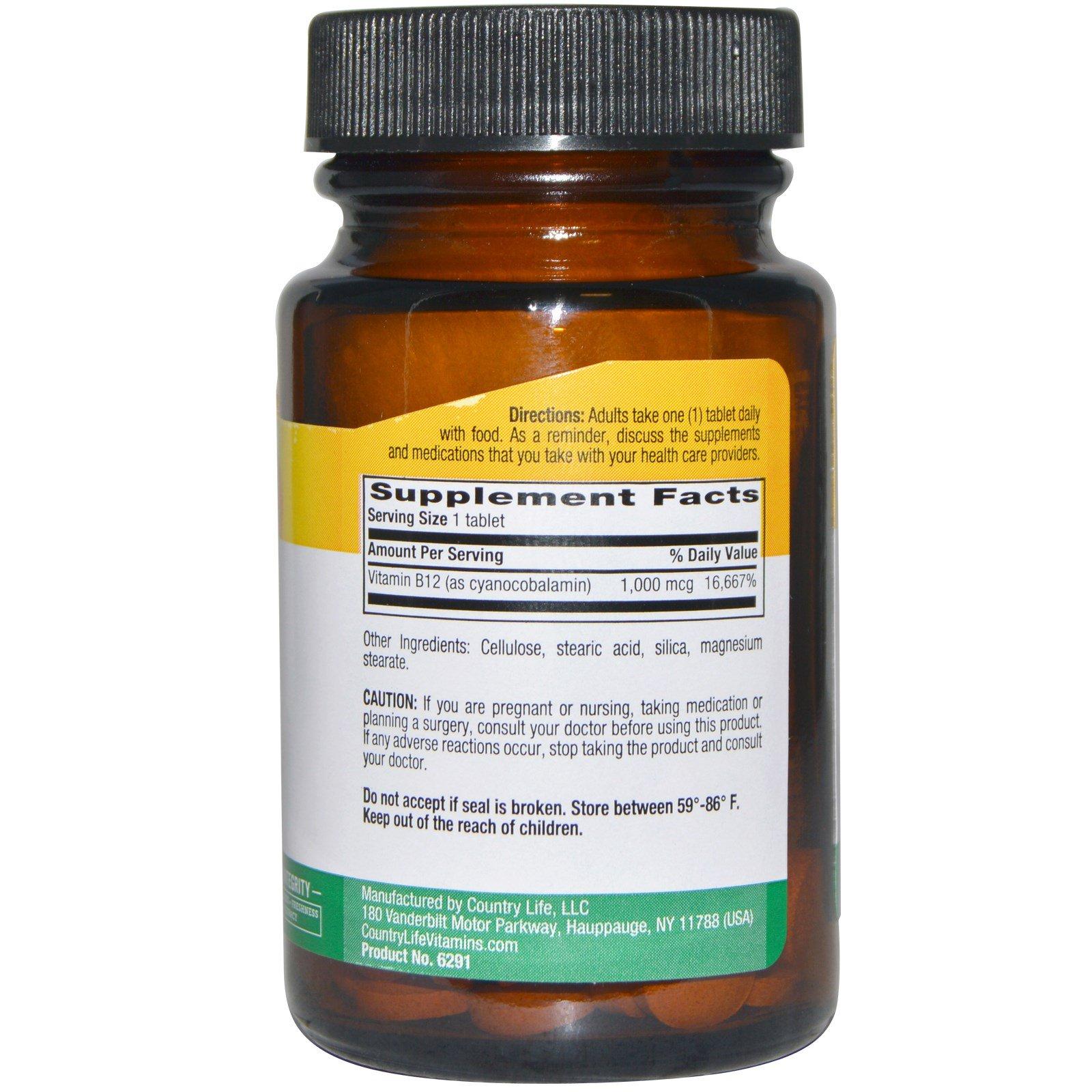 Country Life, Vitamin B12, 1000 mcg, 60 Tablets - iHerb com