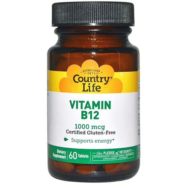 Country Life, Vitamin B12, 1000 mcg, 60 Tablets