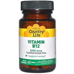 Кантри Лайф, Vitamin B12, 1000 mcg, 60 Tablets отзывы покупателей