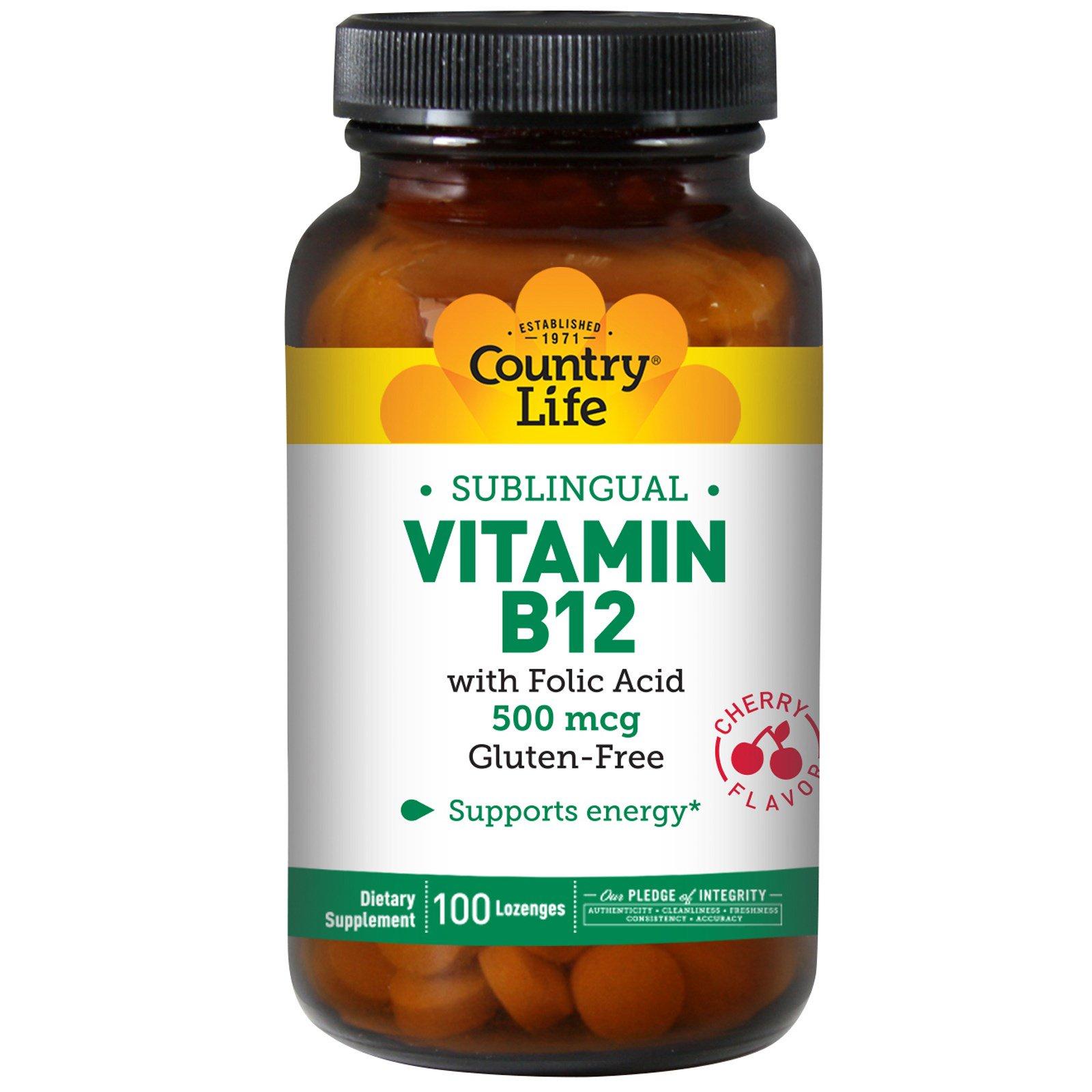 Country Life, Витамин B12, подъязычный, вишневый аромат, 500 мкг, 100 леденцов