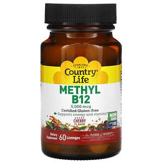 Country Life, Methyl B12, Cherry, 5,000 mcg, 60 Lozenges