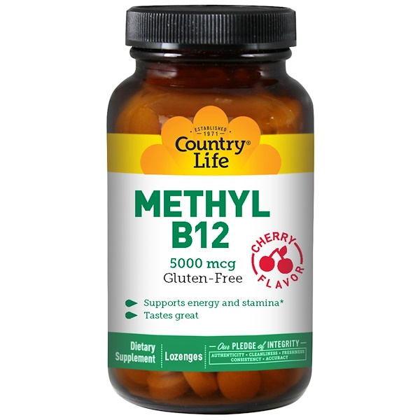 Country Life, Methyl B12, Cherry Flavor, 5000 mcg, 60 Lozenges