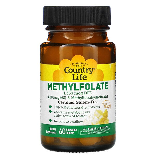 Methylfolate, Orange, 800 mcg, 60 Chewable Tablets