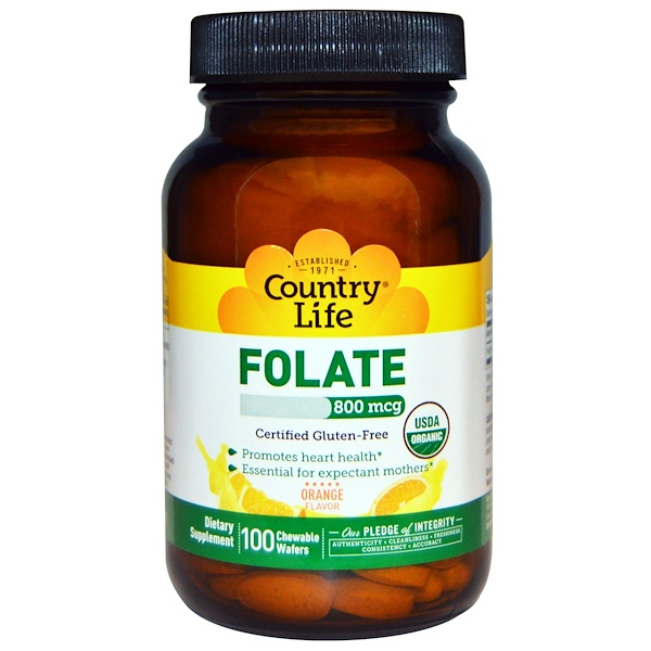Country Life, Folate, Orange Flavor, 800 mcg, 100 Chewable Wafers (Discontinued Item)
