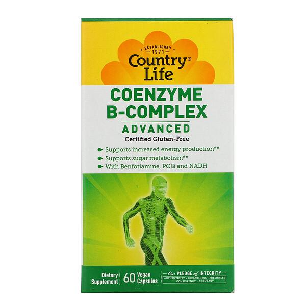 Country Life, 코엔자임 B-콤플렉스, 고급, 60 베지 캡