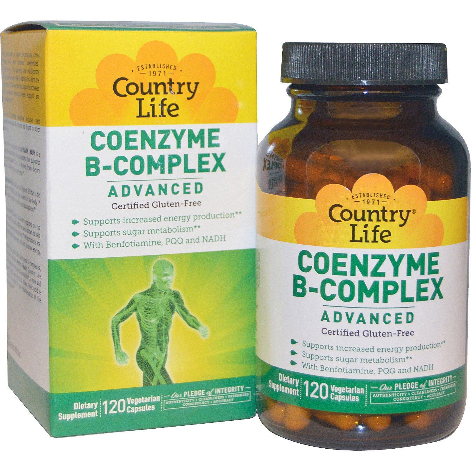Country Life, Коферментный комплекс витаминов группы B, улучшенная формула, 120 растительных капсул