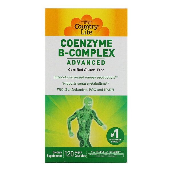 Country Life, Coenzyme B-Complex, Advanced, 120 Vegetarian Capsules
