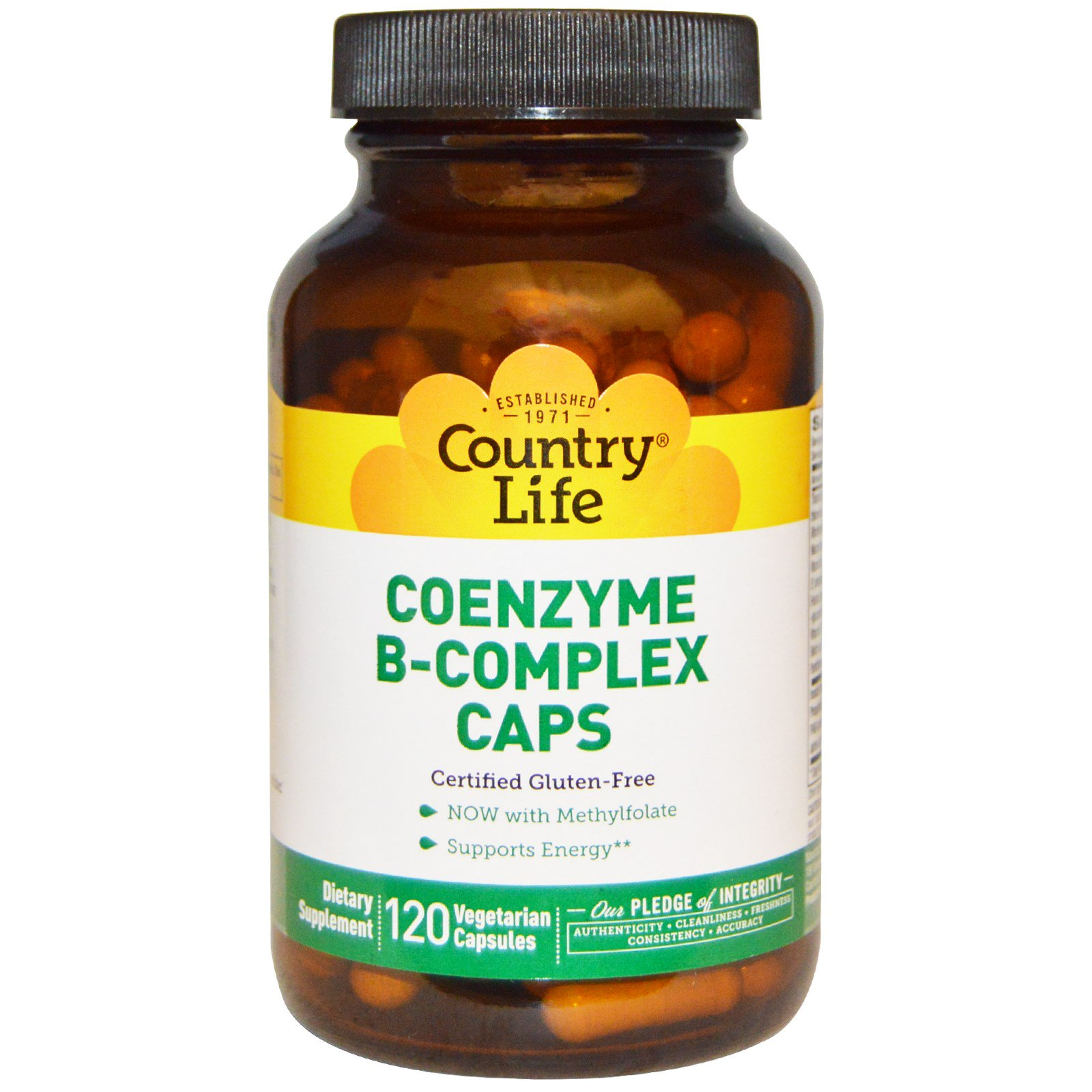 Country Life, Комплекс витаминов В с коэнзимом, 120 вегетарианских капсул