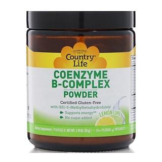 Country Life, Порошок с комплексом коферментов витамина B, лайм и лимон, 1,95 унц. (55 г)