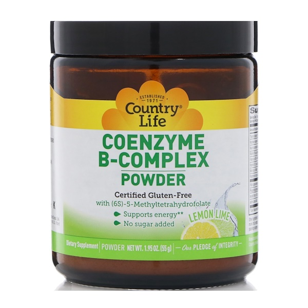 Country Life, Coenzyme B-Complex Powder, Lemon Lime, 1.95 oz (55 g) (Discontinued Item)