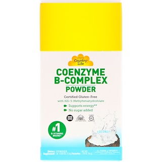 Country Life, Coenzyme B-Complex Powder, Coconut, 30 Packets, 0.065 oz (1.8 g)