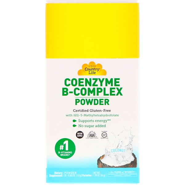 Coenzyme B-Complex Powder, Coconut, 30 Packets, 0.065 oz (1.8 g)