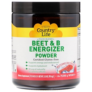 Country Life, مسحوق البنجر وفيتامين ب المنشّط، بنكهة البطيخ، 3.5 أوقية (99.6 جم)