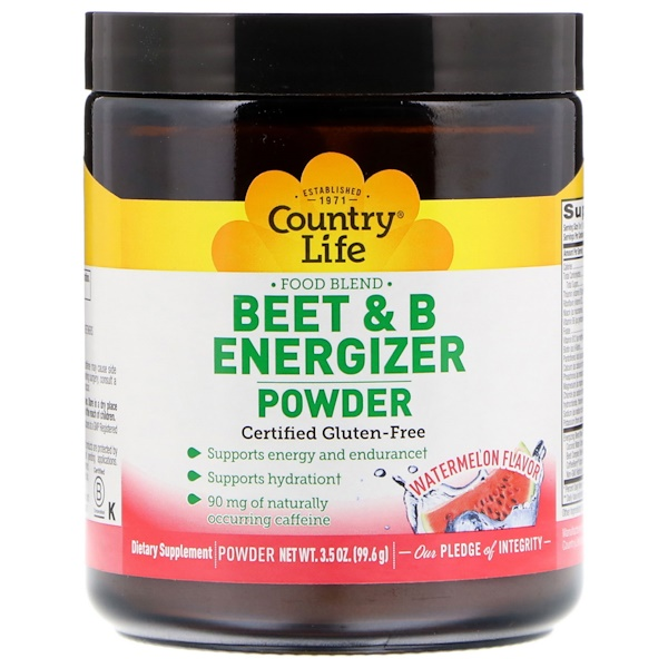 Country Life, Beet & B Energizer Powder, Watermelon Flavor, 3.5 oz (99.6 g)