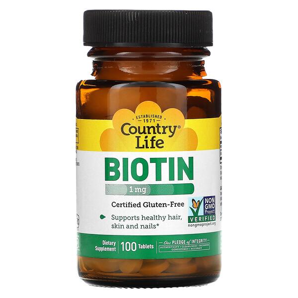 Biotin, 1 mg, 100 Tablets