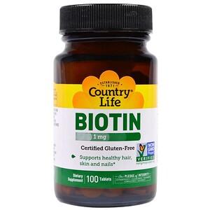 Country Life, Биотин, 1 мг, 100 таблеток