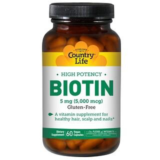 Country Life, Biotin, High Potency, 5 mg, 60 Vegan Caps