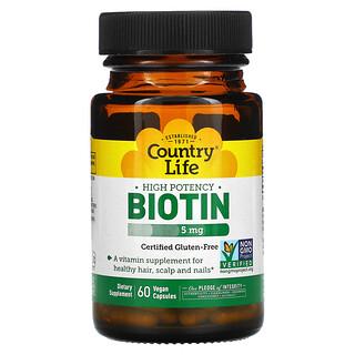 Country Life, High Potency Biotin, 5 mg, 60 Vegan Capsules