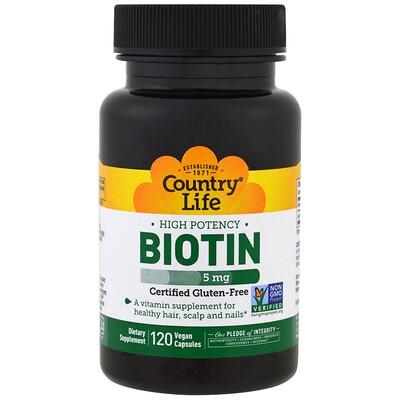 Купить Высокоэффективный биотин, 5 мг, 120 веганских капсул