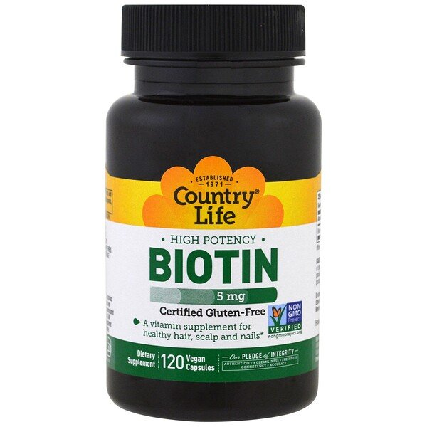 Country Life, Biotin, High Potency, 5 mg, 120 Vegan Caps