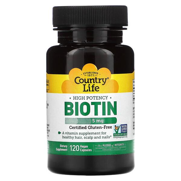 High Potency Biotin, 5 mg, 120 Vegan Capsules