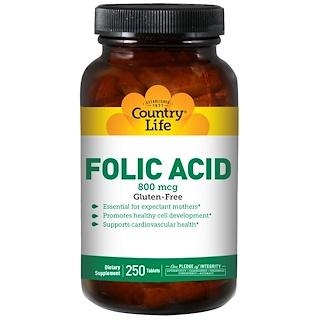 Country Life, Folic Acid, 800 mcg, 250 Tablets