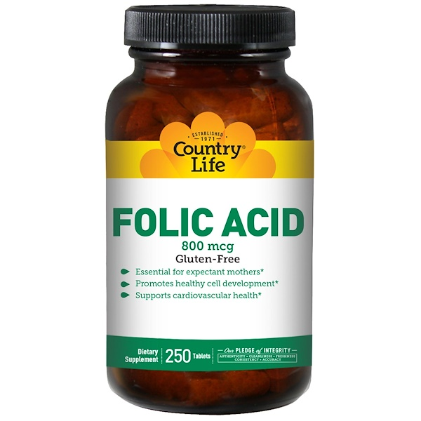 Country Life, Folic Acid, 800 mcg, 250 Tablets (Discontinued Item)