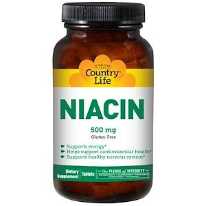 Country Life, Никотиновая кислота, 500 мг, 90 таблеток