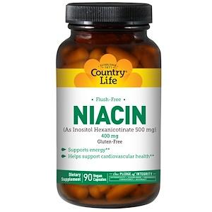 Country Life, Ниацин, не вызывает покраснения, 400 мг, 90 капсул