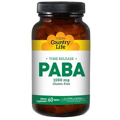 Country Life, PABA, 徐放性, 1000 mg, 60錠